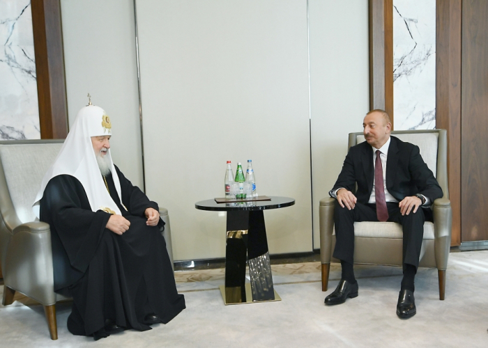 İlham Əliyev Patriarx Kirill ilə görüşdü - FOTO