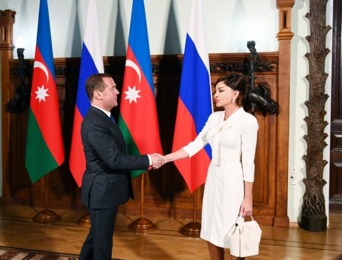 Mehriban Əliyeva Dmitri Medvedevlə görüşdü - FOTOLAR (Yenilənib)