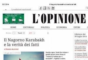 L'Opinione italiano sobre el conflicto de Nagorno Karabaj