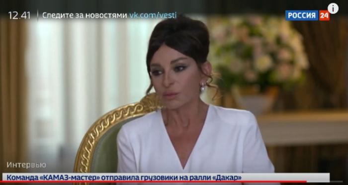 """""""Rossiya 24"""" telekanalı Birinci vitse-prezidentin müsahibəsini yayımlayıb"""