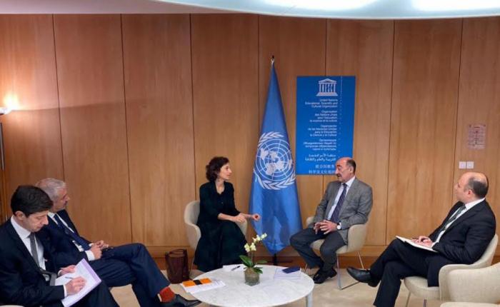 Ministro de Cultura de Azerbaiyán se reúne con la directora general de la UNESCO en París