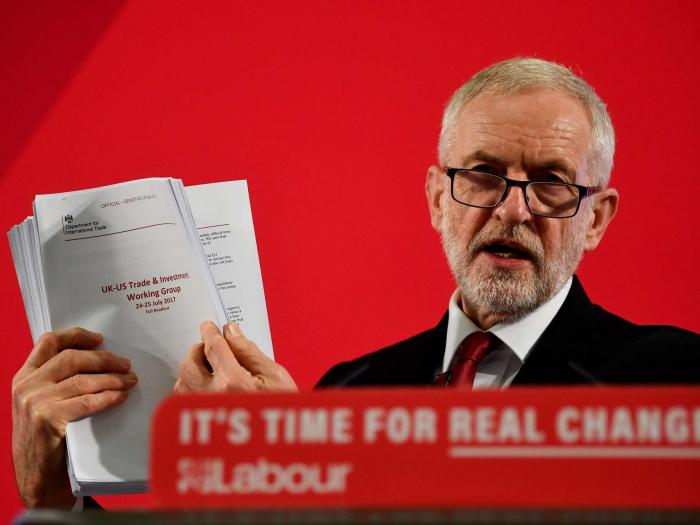 Secret  NHS trade documentsrevealedby Jeremy Corbyn