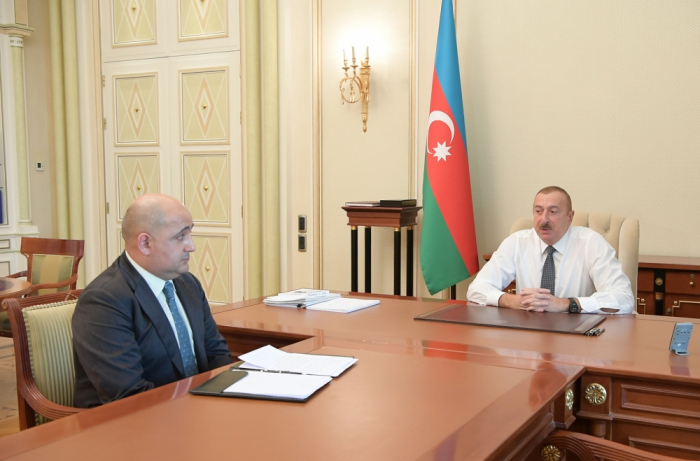 President Ilham Aliyev receives Israfil Mammadov in connection with his appointment to new post