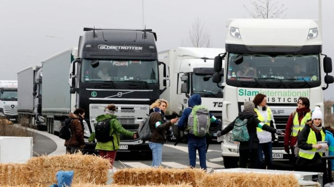 Black Friday protest: French activists block Amazon warehouse