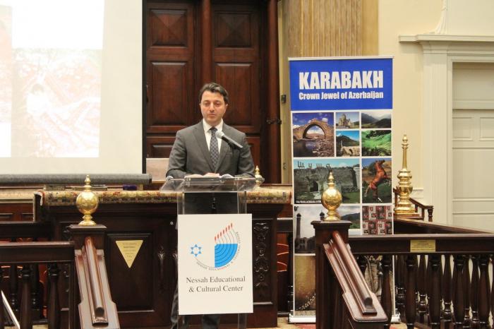 Presidente de la comunidad azerbaiyana de Karabaj intervino en la sinagoga de EE UU