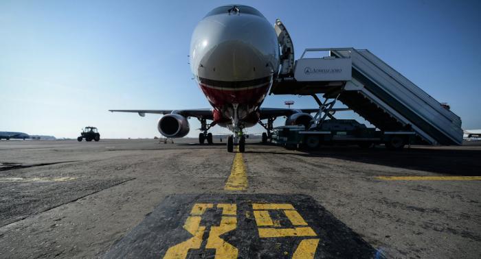 Watch Sukhoi Superjet-100 plane make emergency landing after left engine fails