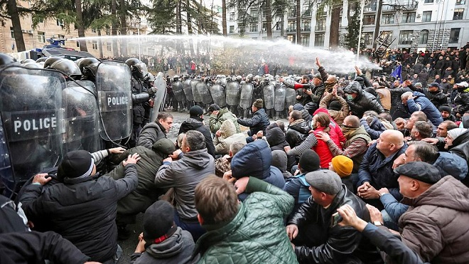 Georgia: Police clash with protesters in front of Parliament-  NO COMMENT