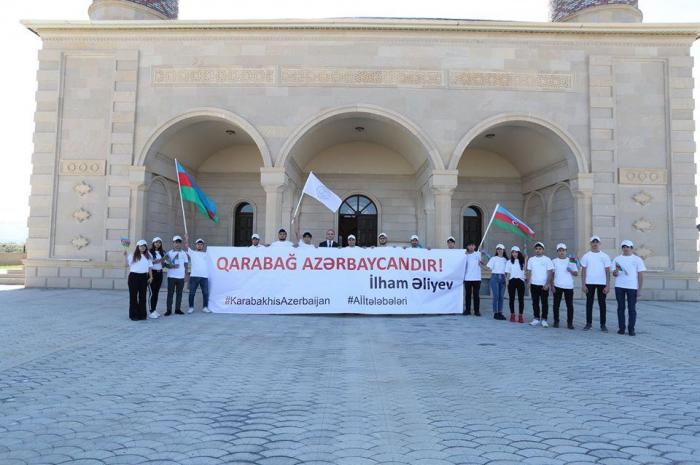 """Cocuq Mərcanlıda """"Qarabağ Azərbaycandır!"""" lövhəsi açılıb"""