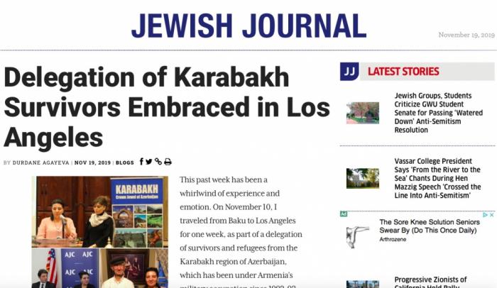 """""""Jewish Journal"""" publica un artículo sobre la visita de una delegación de desplazados internos de Azerbaiyán a Los Ángeles"""
