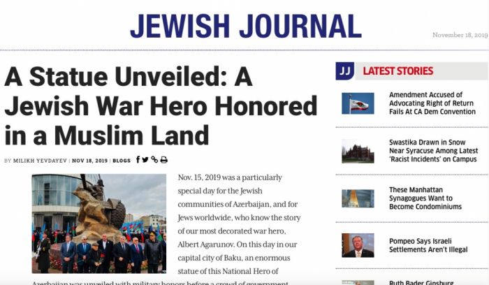 En la edición americana se publicó un artículo sobre la inauguración del monumento al Héroe Nacional de Azerbaiyán Albert Agarunov