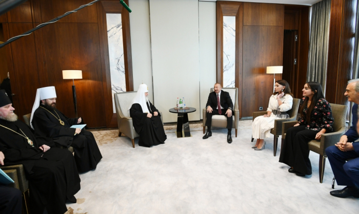 President Ilham Aliyev met with Patriarch Kirill of Moscow and All Russia