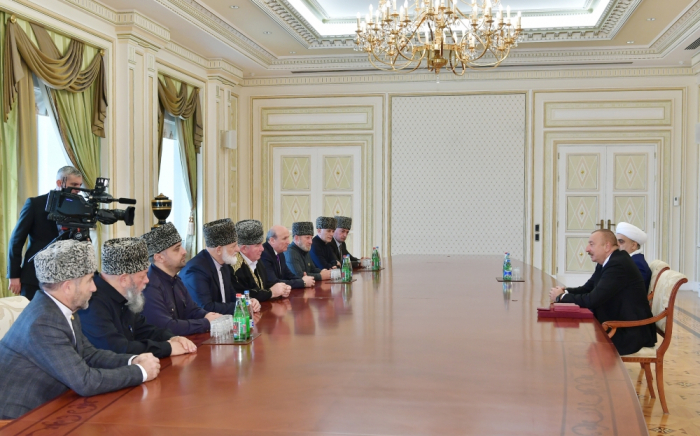 Azerbaijani President receives a group of Muslim clergy from Russia