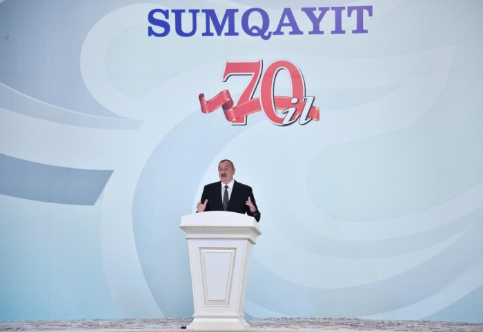 President Ilham Aliyev attends event marking 70th anniversary of Sumgayit - UPDATED