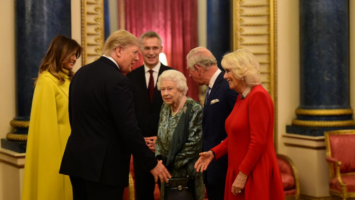 Queen Elizabeth hosts NATO leaders at Buckingham Palace as protesters gather outside-   NO COMMENT
