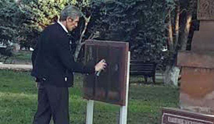 Memorial plaque to Armenian fascist executioner Nzhdeh dismantled in Armavir