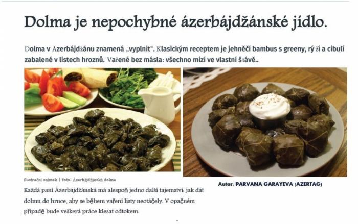 La edición checa relata sobre el plato típico azerbaiyano