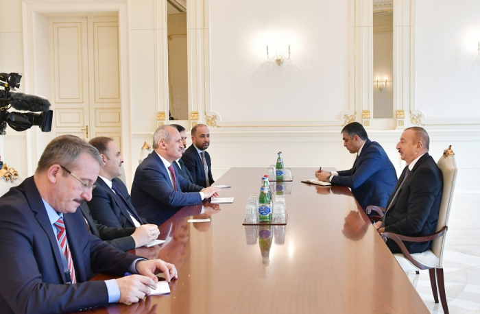 Azerbaijani president receives delegation led by Turkish minister