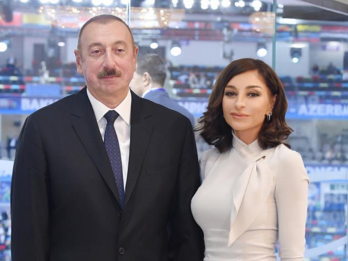 Aserbaidschans Präsident und First Lady besuchen Ausstellung Bakutel-2019