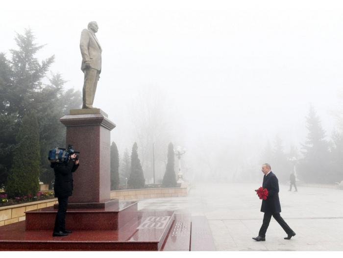 Präsident Ilham Aliyev zu Besuch in Schamachi