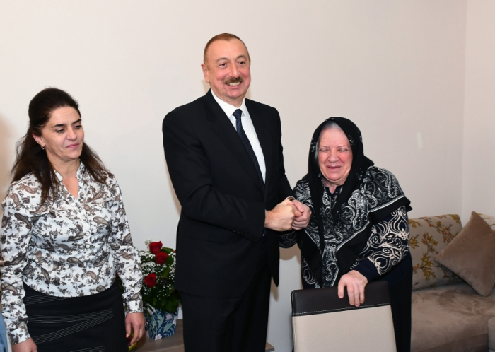 President Ilham Aliyev views conditions at newly constructed building for earthquake-affected families in Shamakhi