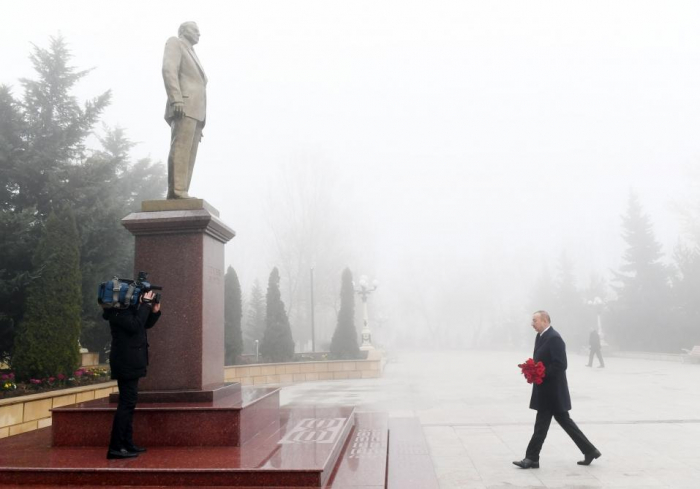 President Ilham Aliyev arrives in Shamakhi district