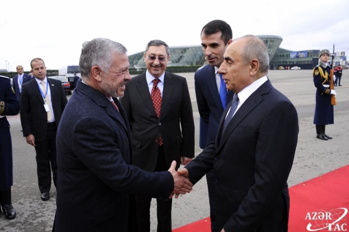 König Abdullah II. Von Jordanien kommt zu einem offiziellen Besuch nach Aserbaidschan