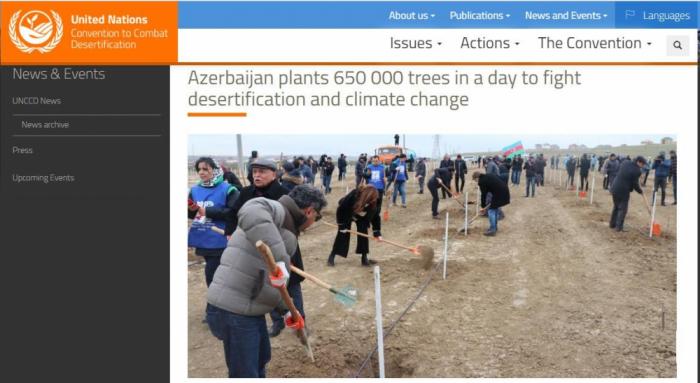 Le portail Internet officiel de l'UNCCD a publié un article sur la campagne de plantation d'arbres organisée en Azerbaïdjan