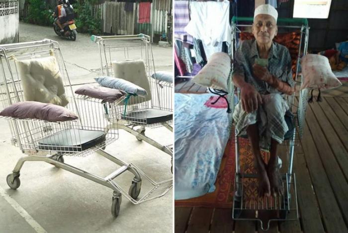 Il transforme les caddies de supermarché enfauteuils roulantspour les plus démunis