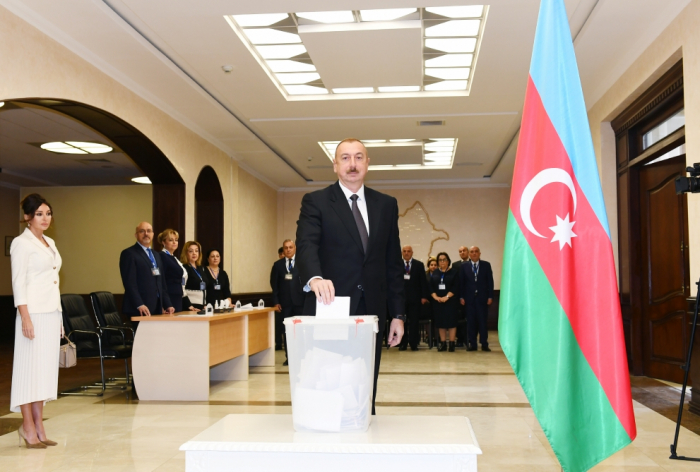 President Ilham Aliyev votes in municipal elections