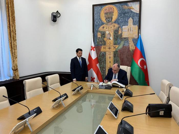 Der aserbaidschanische Außenminister trifft sich mit dem georgischen Parlamentspräsidenten