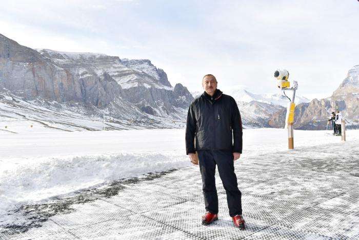 President Ilham Aliyev views work done at Shahdag Tourism Center
