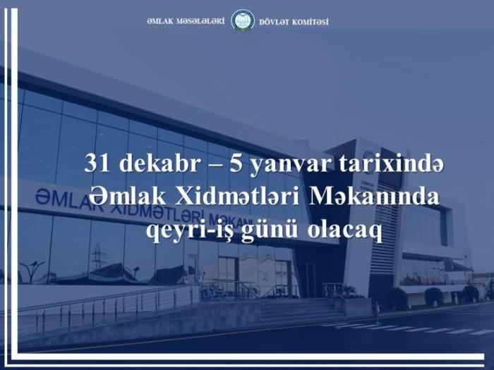 Əmlak Xidmətləri Məkanı 6 gün işləməyəcək