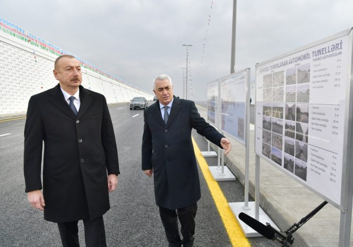 President Ilham Aliyev inaugurates highway tunnel in Pirshaghi settlement - PHOTOS