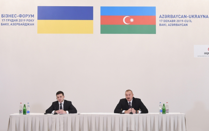 Azerbaijani, Ukrainian presidents attend business forum in Baku