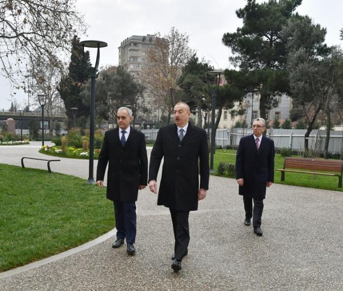 President Ilham Aliyev viewed reconstruction work of another park in Baku -  PHOTOS