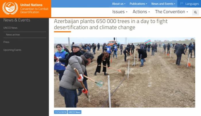 Plantación de 650 mil árboles en Azerbaiyán se destaca en el sitio web de la Convención de las Naciones Unidas de Lucha contra la Desertificación