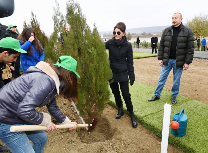 الرئيس إلهام علييف والسيدة الأولى مهربان علييفا يشاركان في حملة التشجير