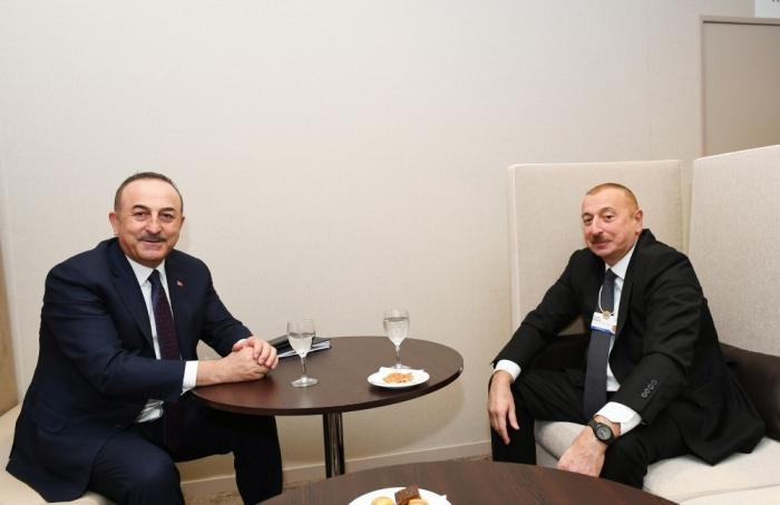 İlham Əliyev Davosda Çavuşoğlu ilə görüşdü