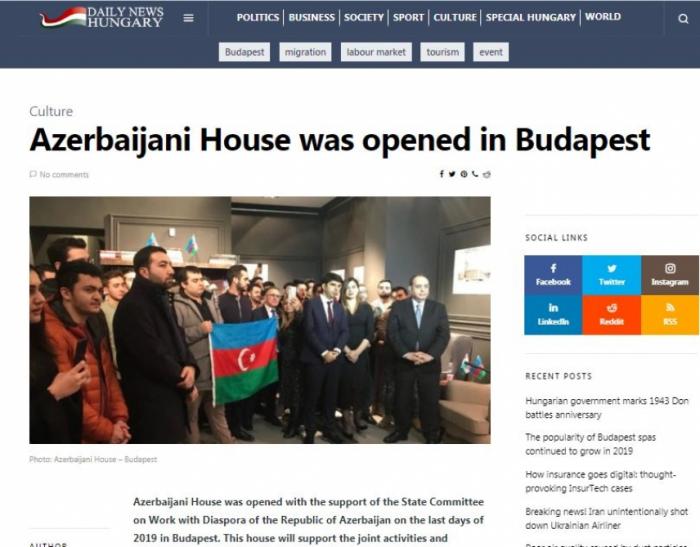 """La edición húngara escribe sobre la apertura de la """"Casa de Azerbaiyán"""" en Budapest"""