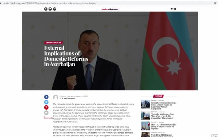 """Modern Diplomacy:   """"Implicaciones externas de las reformas internas en Azerbaiyán"""""""