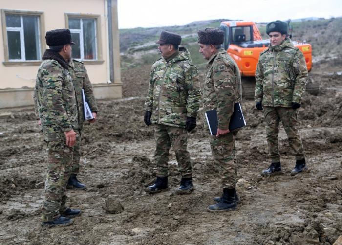 Azerbaijani defense minister inspects military facilities under construction