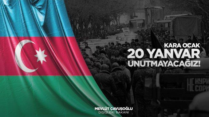 Cavusoglu comparte publicación sobre la tragedia del 20 de Enero