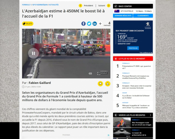 Le site motorsport.com publie un article sur la contribution du Grand Prix de F1 à l'économie azerbaïdjanaise