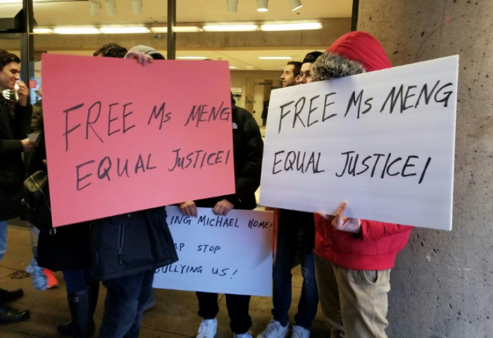 Actors paid to protest for Huawei exec