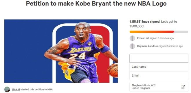 Petition calls for Kobe Bryant to be added to NBA logo