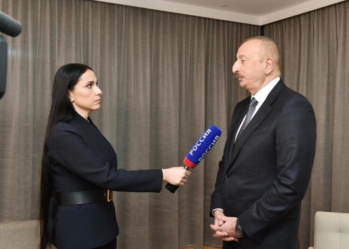 """Interview von Präsident Ilham Aliyev mit Fernsehsender """"Rossija-24""""  VIDEO"""