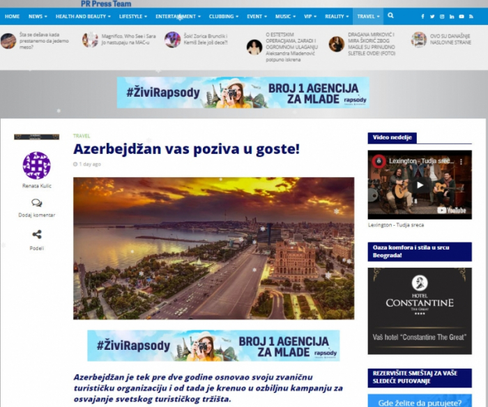 Serbian news portal highlights Azerbaijan