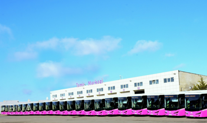 Bakıda 12 metrlik avtobuslar xəttə buraxıldı - FOTO