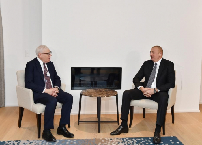 President Ilham Aliyev holds several meetings in Davos - PHOTOS