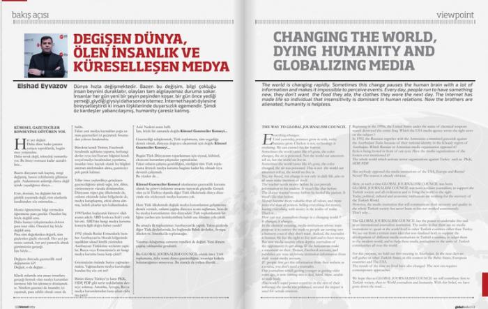 Azərbaycanlı jurnalistin yazısı Türkiyənin məşhur jurnalında